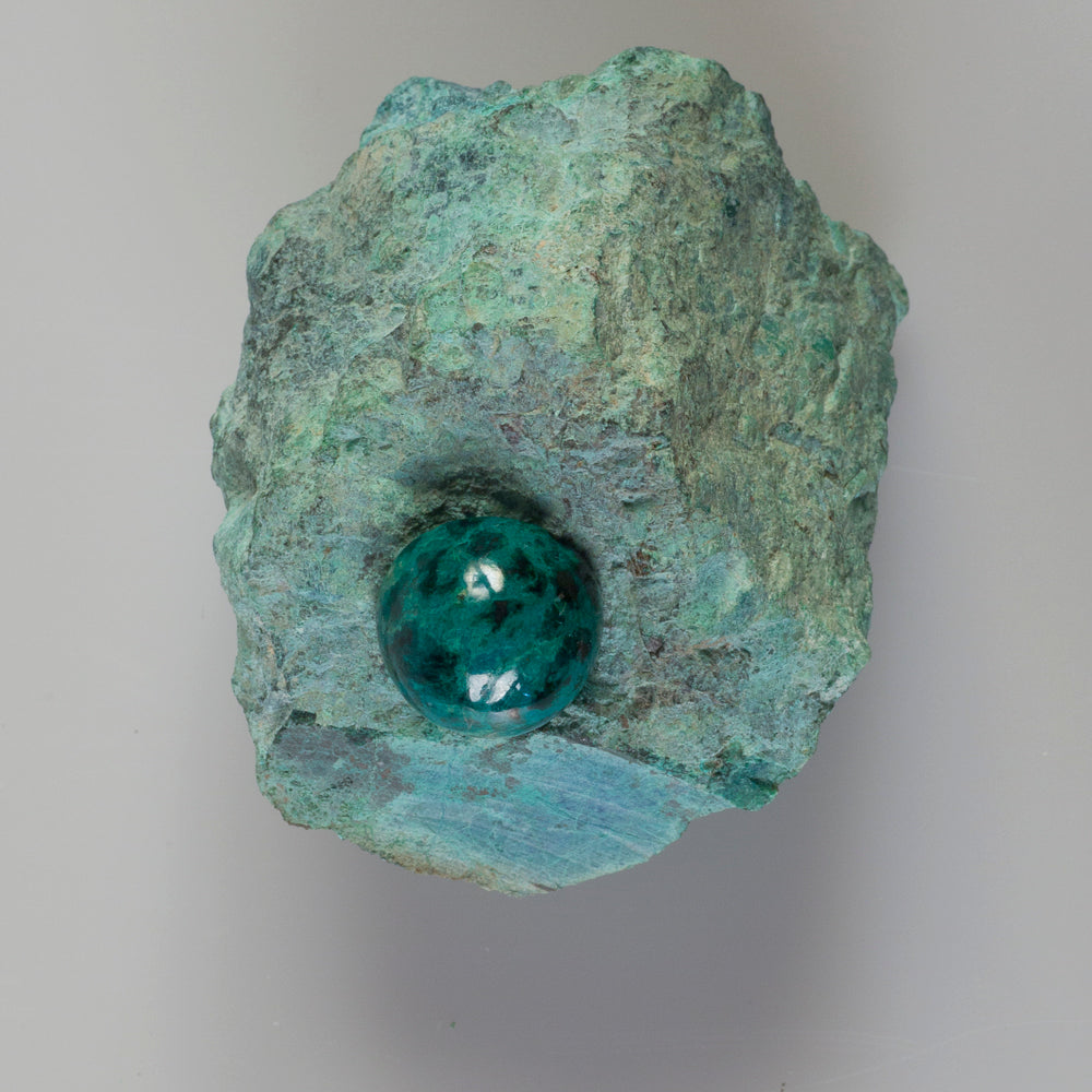 chrysocolla rough stone and chrysocolla cabochon by Alistair R