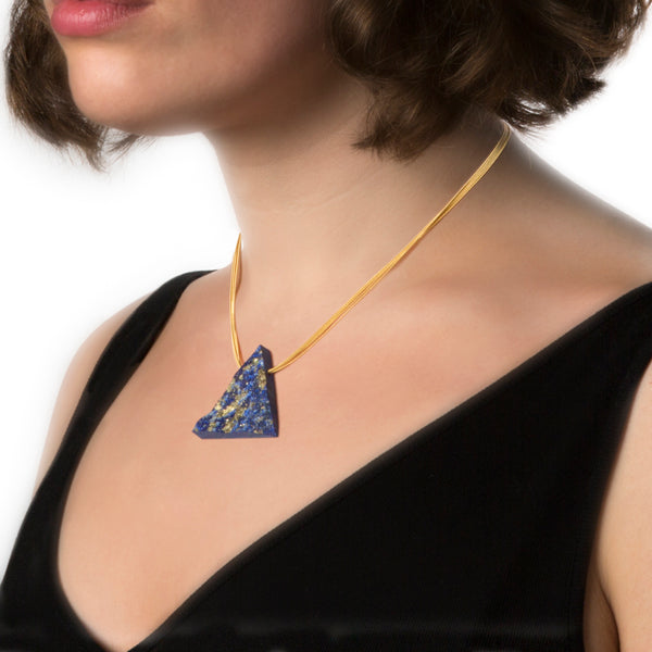 unpolished gold lapis lazuli necklace Alistair R