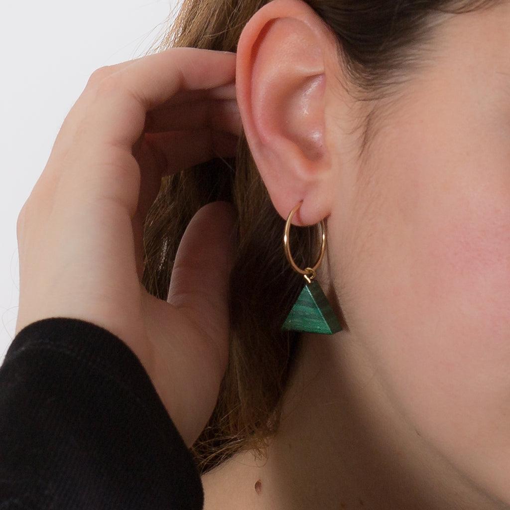 Hoop Earrings - Malachite