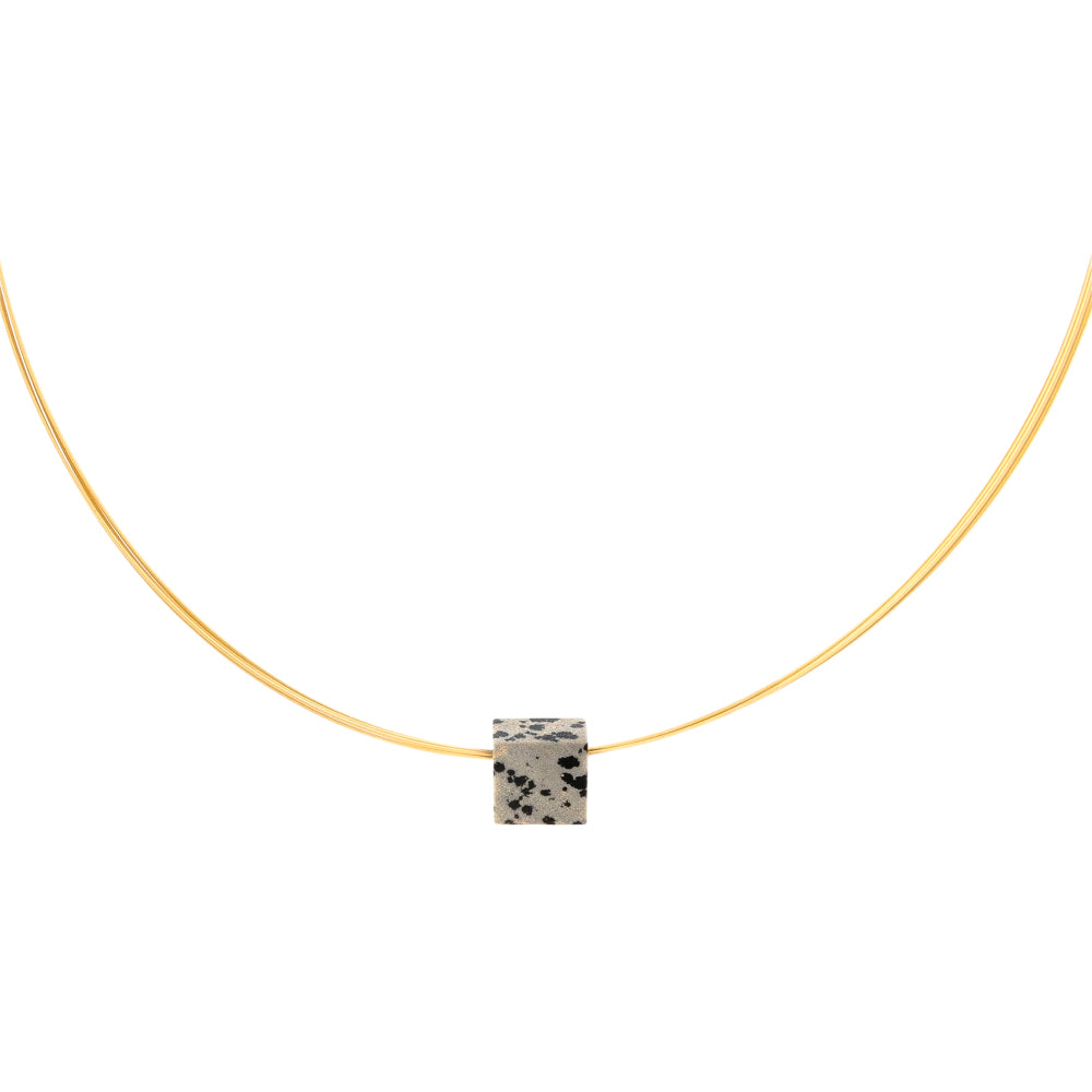 gemstone pendant square dalmation jasper on gold plated cable