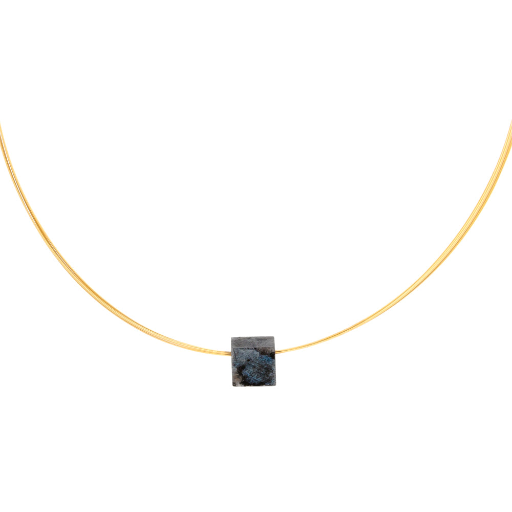 simple gemstone necklace labradorite square on gold