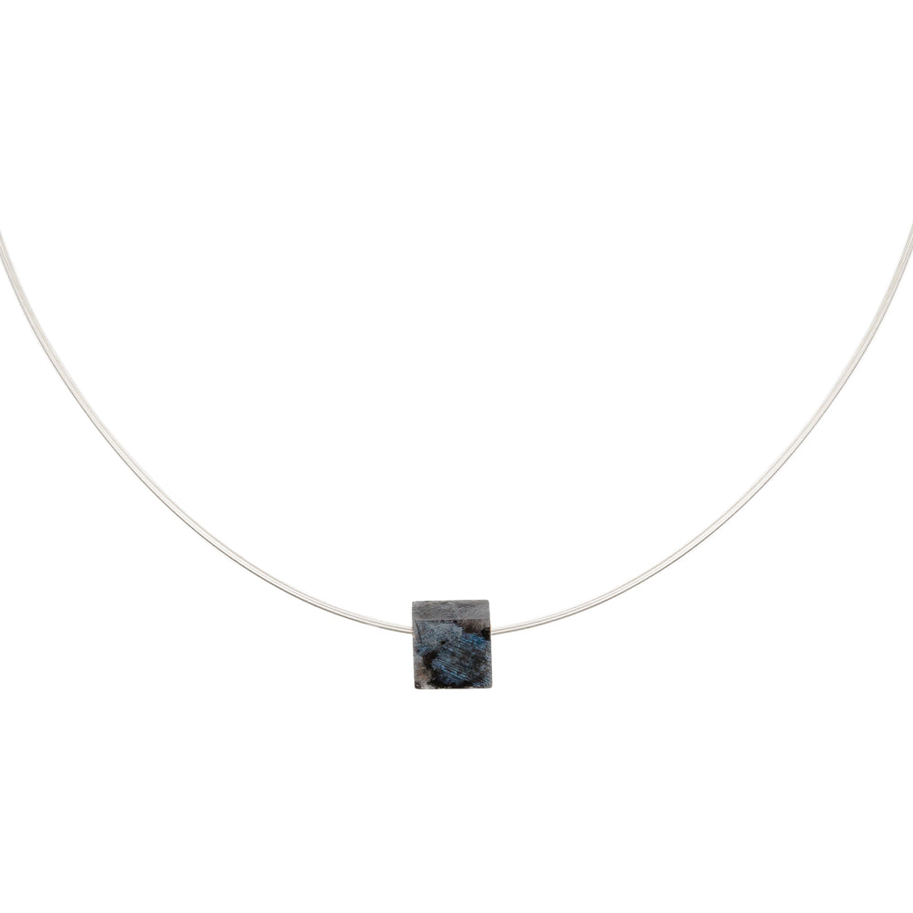 simple gemstone necklace labradorite square on silver