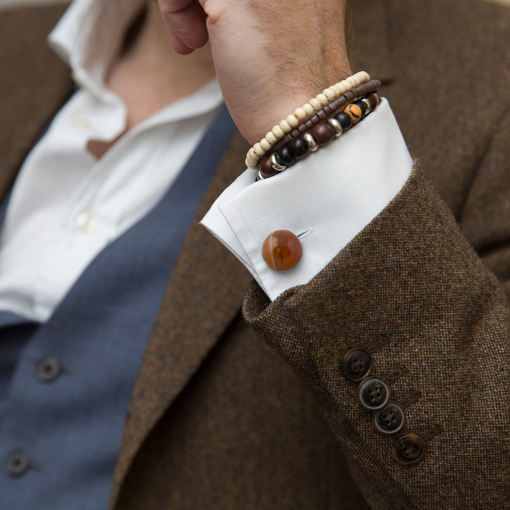 Autum Fall colour outfit with Modern Cufflinks in orange Agate by Alistair R