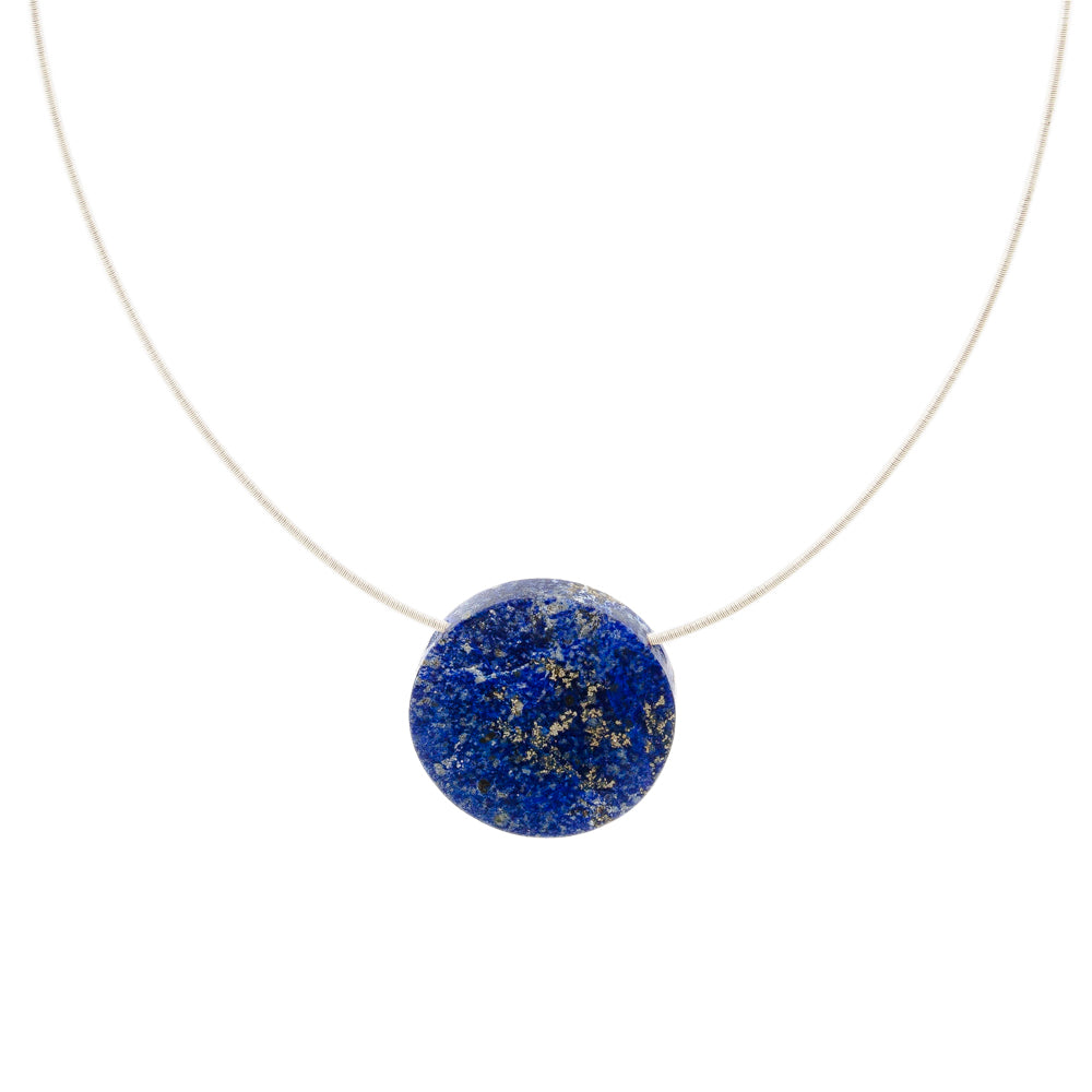 large round lapis pendant on silver necklace