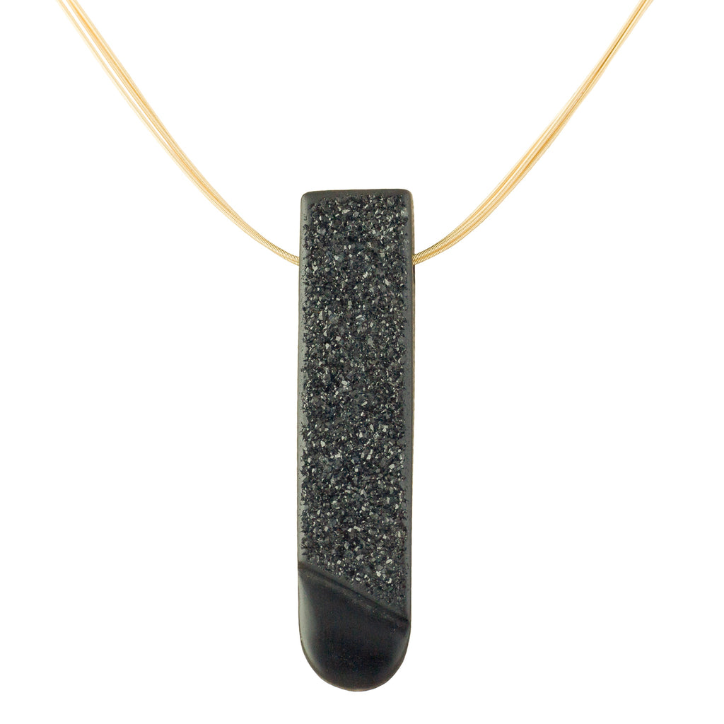 Black Onyx Necklace, drusy on  18 carat gold