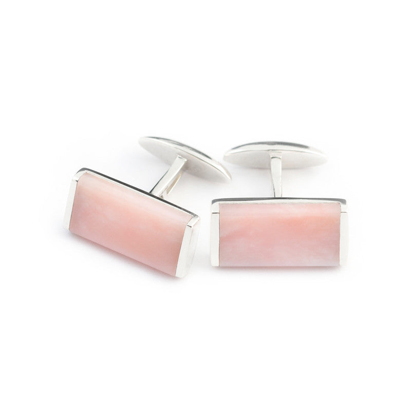 pink opal cufflinks in silver setting