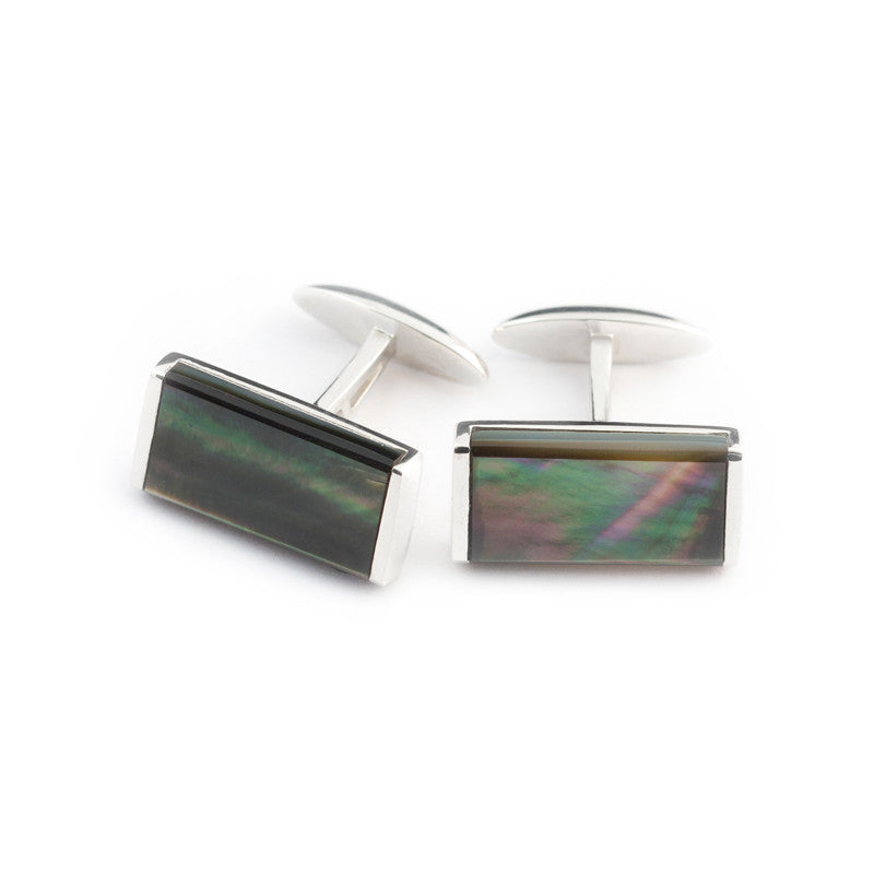 Tahitian black mother of pearl cufflinks set in silver