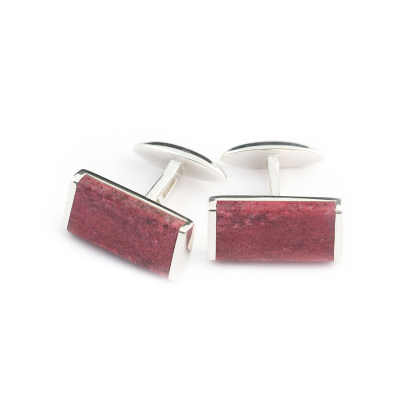 silver cufflink  set with pink Thulite