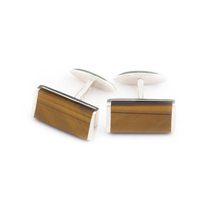 Tigers eye cufflink set in sterling silver