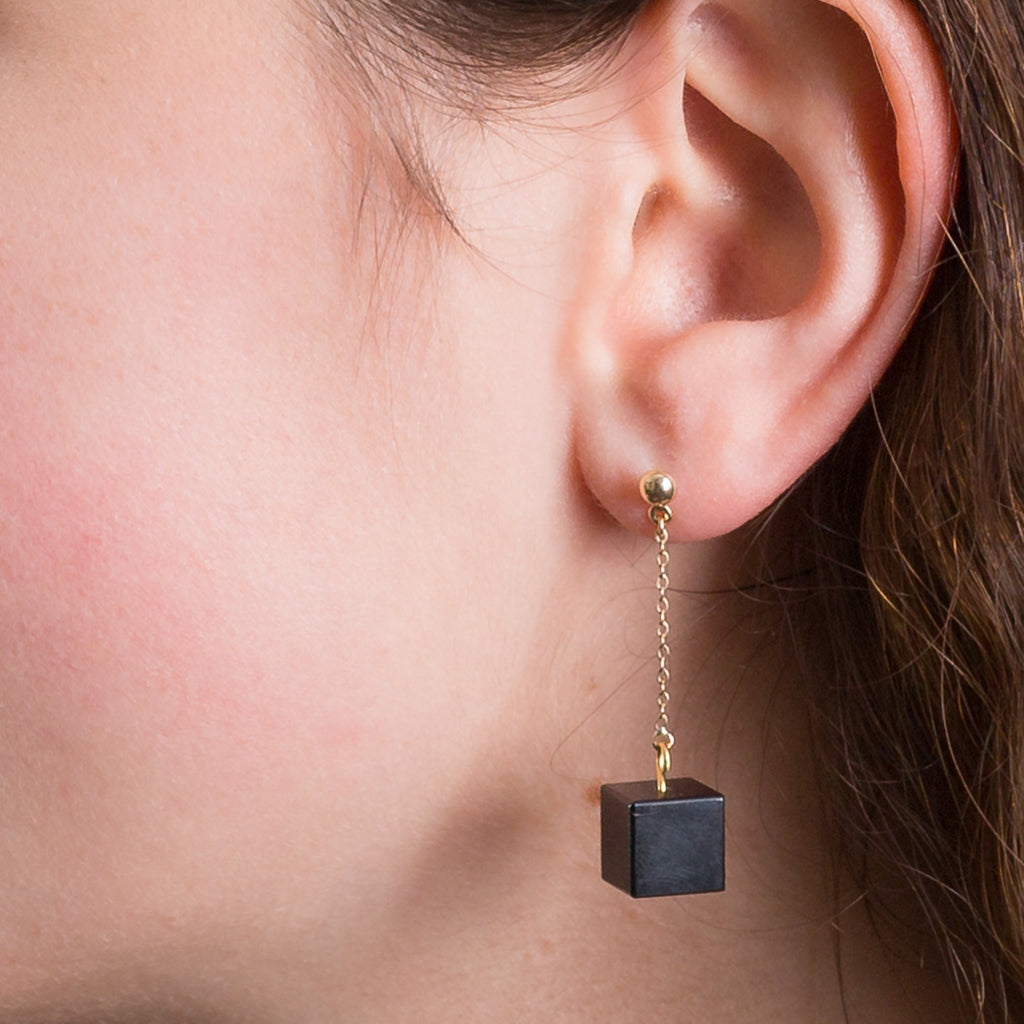 Stud and Chain Earrings - Black Onyx