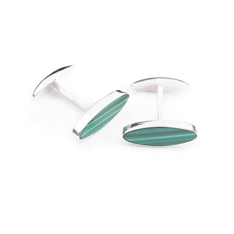 malachite cufflinks oval shaped and set in sterling silver