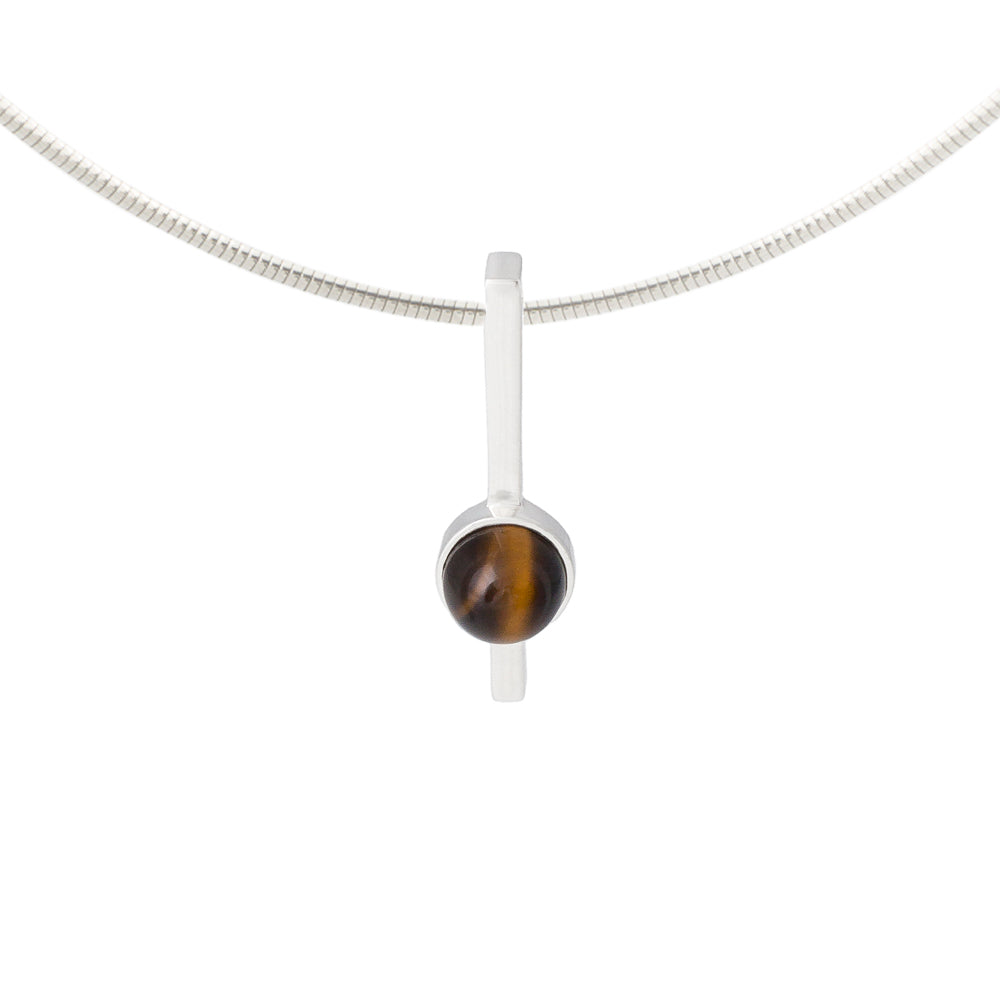 tigers eye necklace set in solid silver
