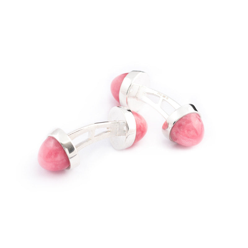 double sided pink gemstone cufflinks in rhodochrosite and silver