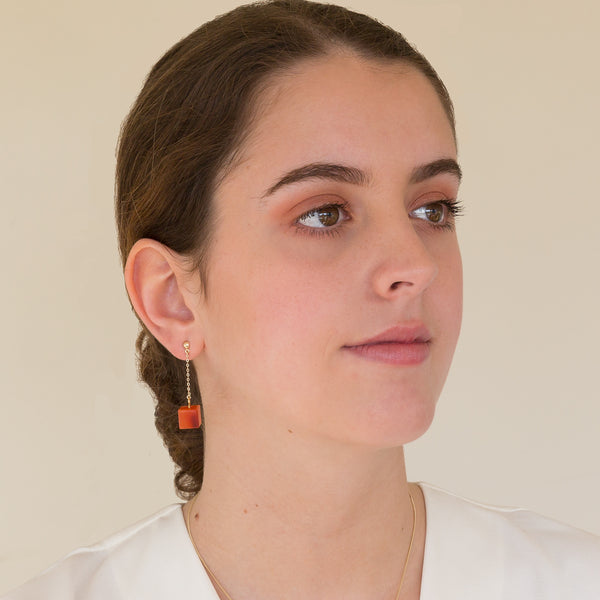 Stud and Chain Earrings  - Carnelian