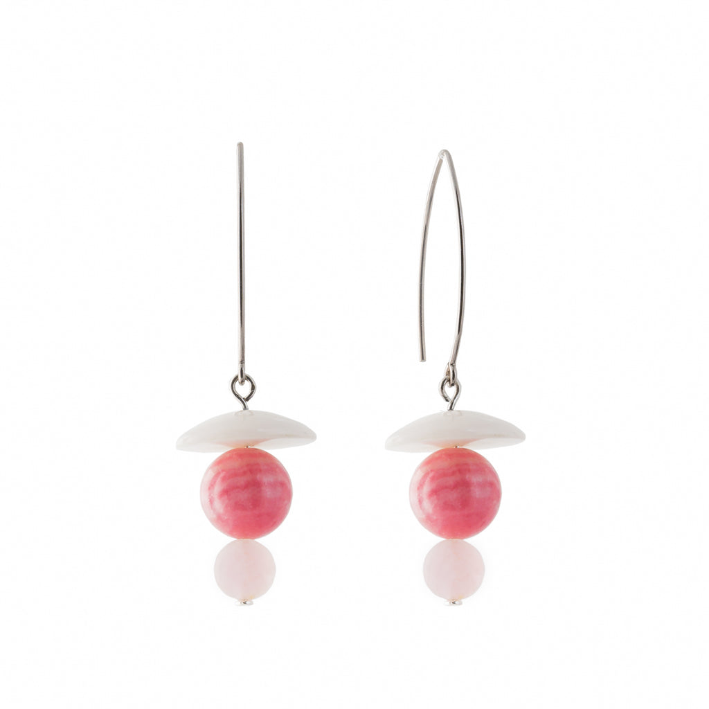 Rose Quartz Earrings with Rhodochrosite and Agate on silver hoops