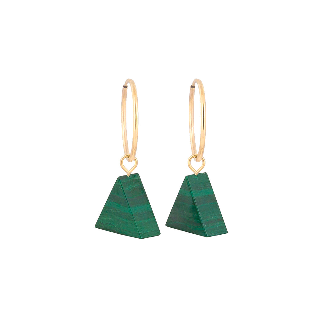 Malachite earrings triangle on gold hoop