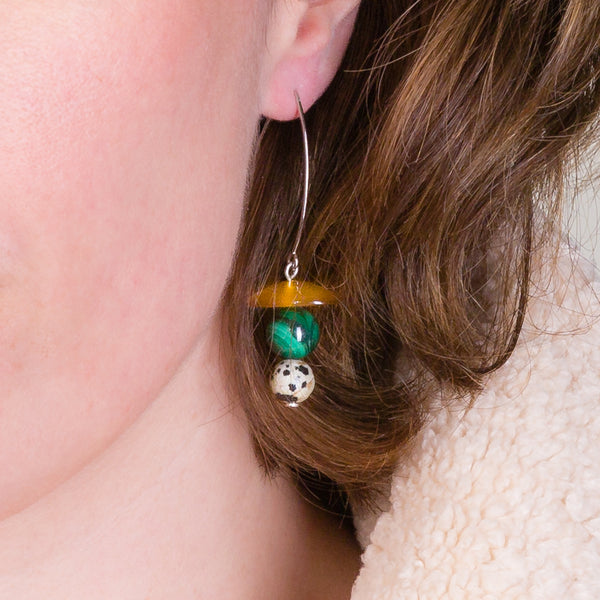 Drop Earrings - Citrine, Malachite and Jasper
