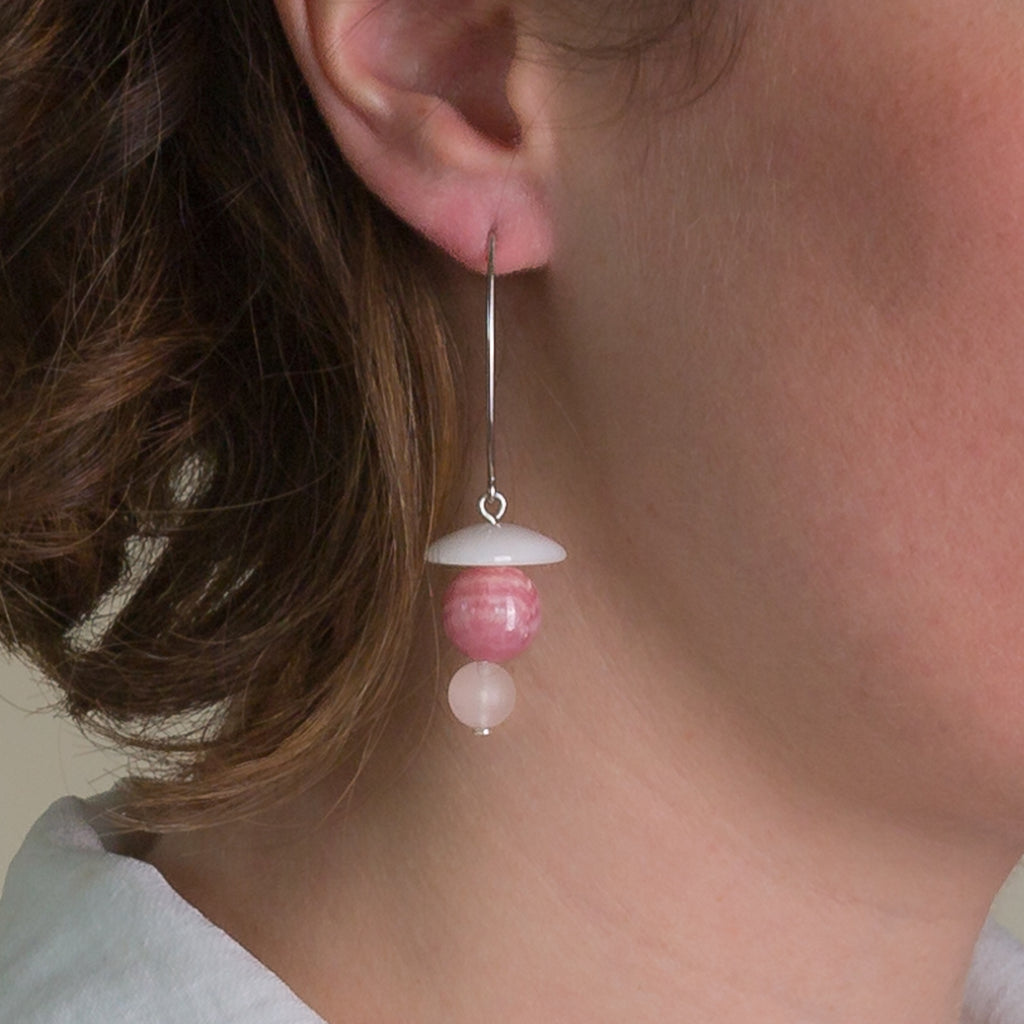 Drop Earrings - Agate, Rhodochrosite and Rose Quartz