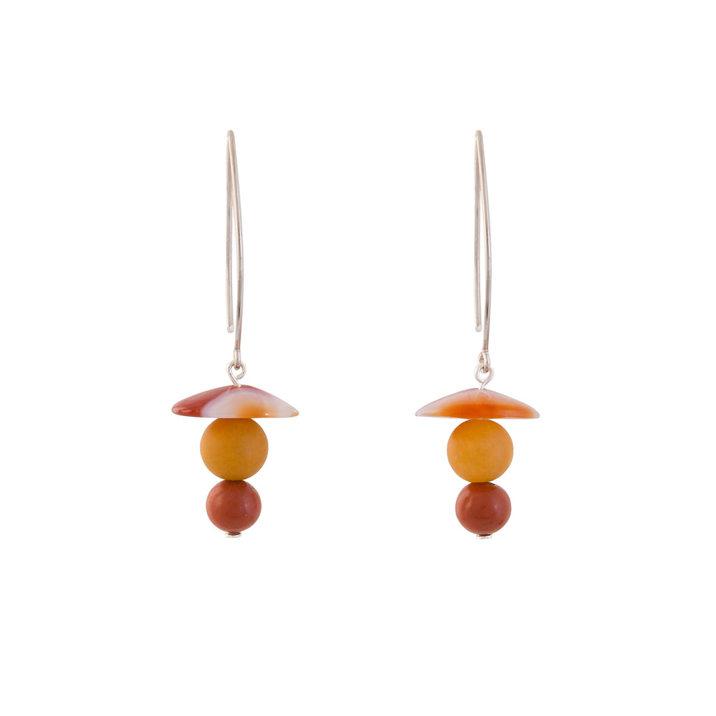 Drop Earrings - Banded Agate, Yellow Agate and Carnelian