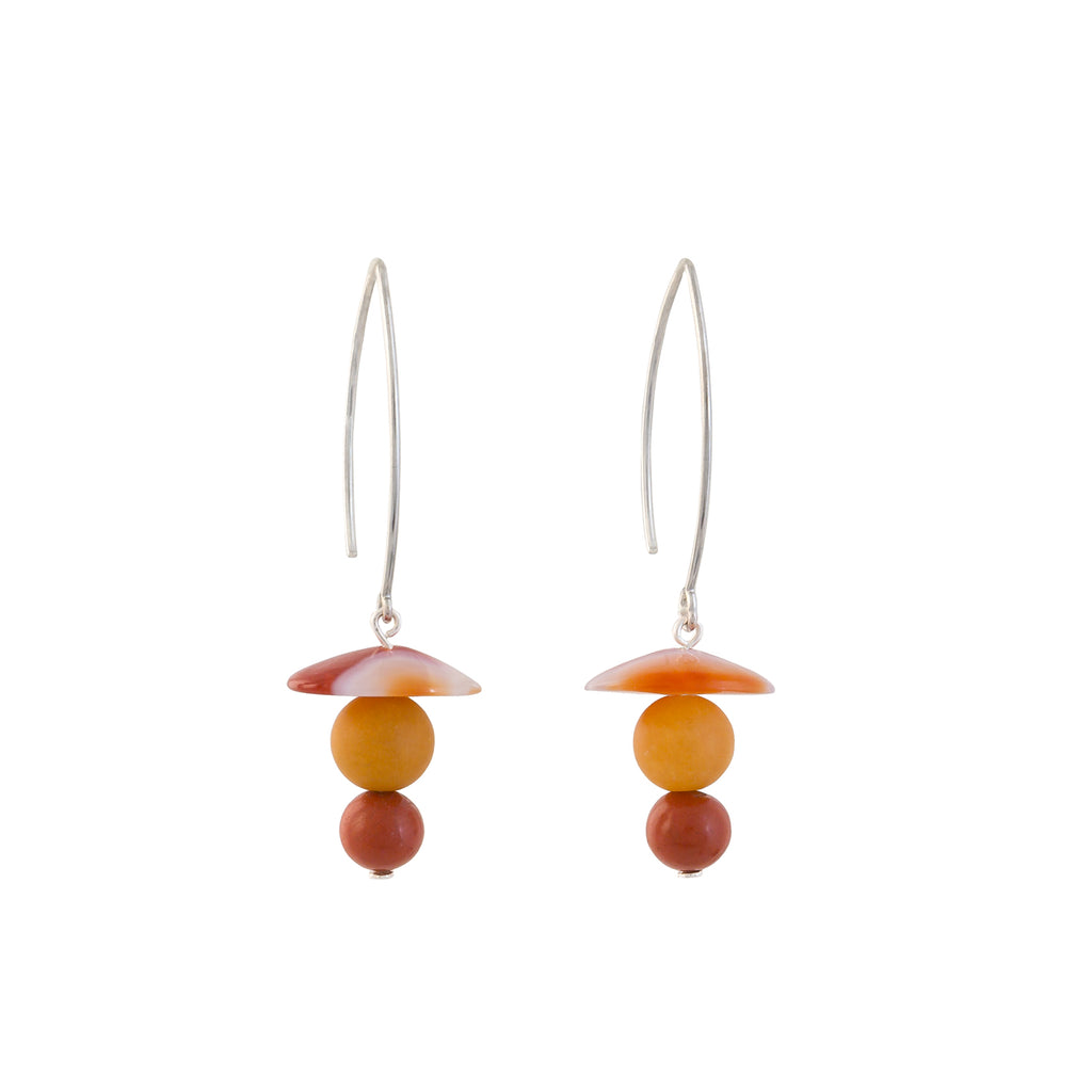 orange earrings with two gemstone beads and  gemstone disk