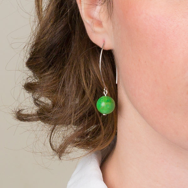 Drop Earrings - Green Gaspeite Orb