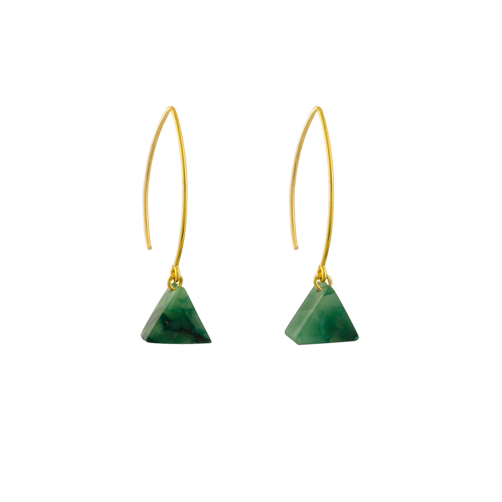 green gemstone earrings aventurine and gold