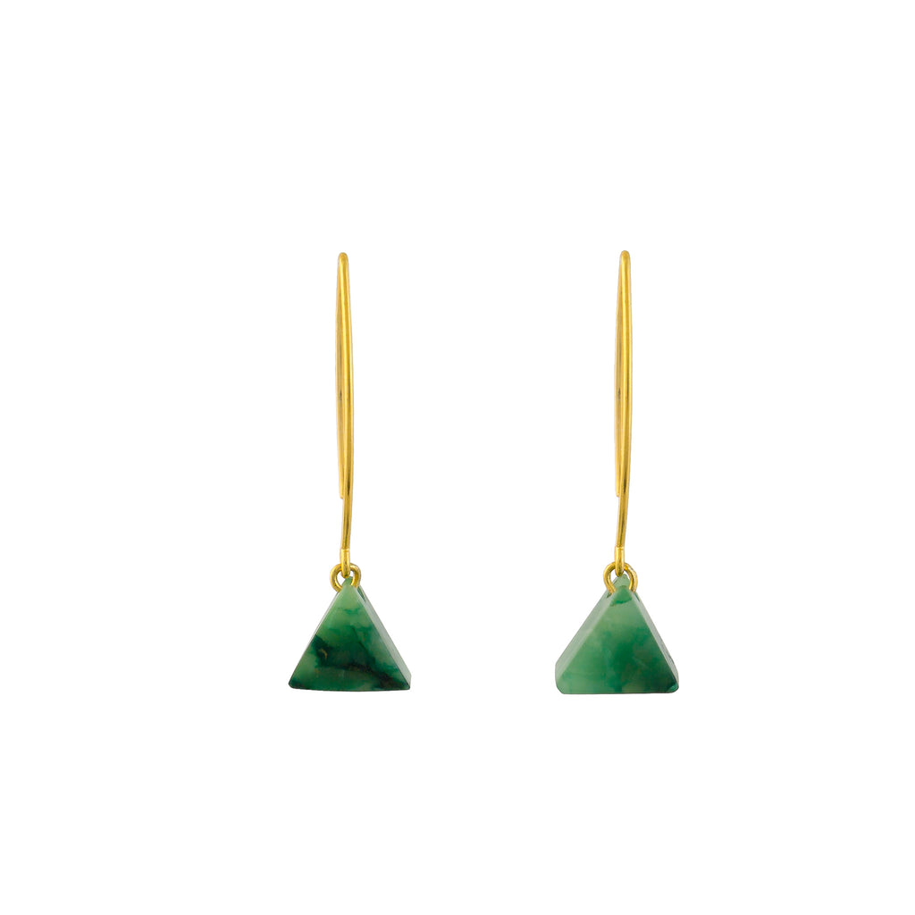 Drop Earrings - Aventurine Triangle