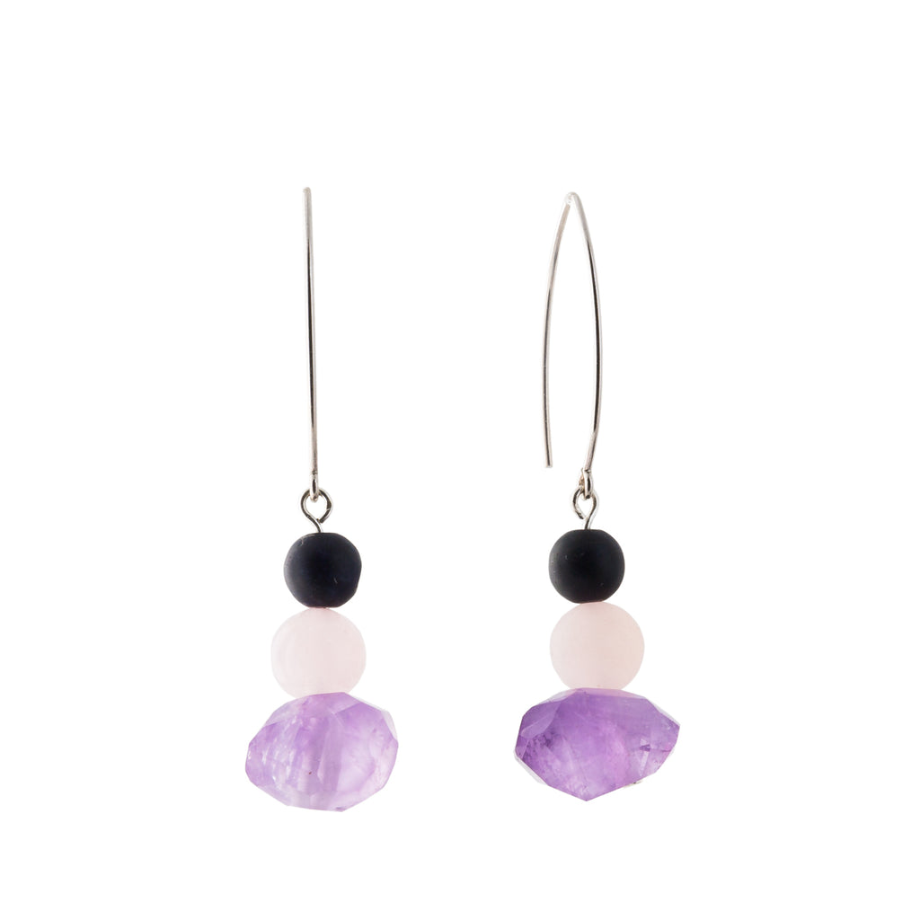 Amethyst and Rose Quartz earrings on silver drop hoops