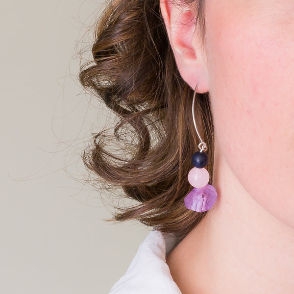 Drop Earrings - Amethyst, Rose Quartz and Onyx