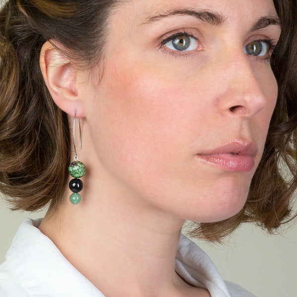Drop Earrings - Green Zeolite, Black Onyx and Green Jasper