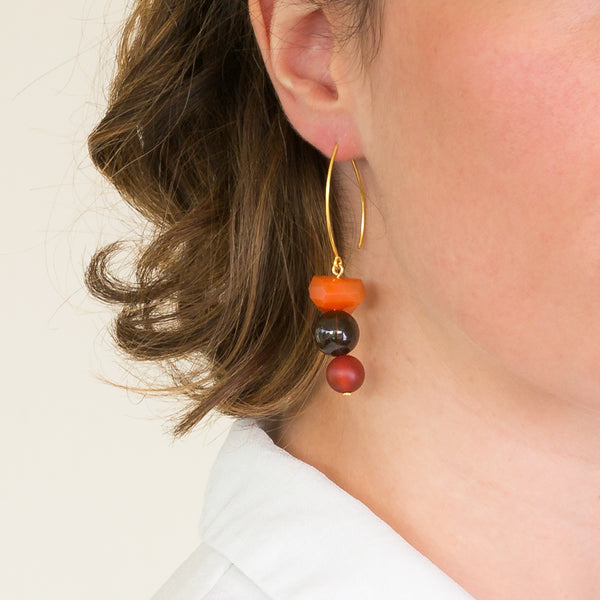 Drop Earrings - Carnelian, Smoky Quartz and Agate