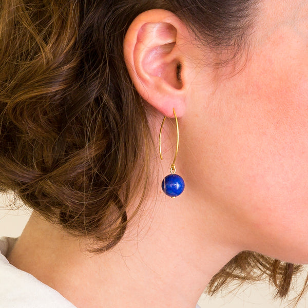 Drop Earrings - Lapis Lazuli Orb