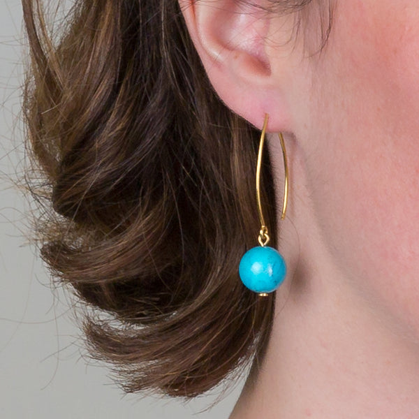 Drop Earrings - Turquoise Orb