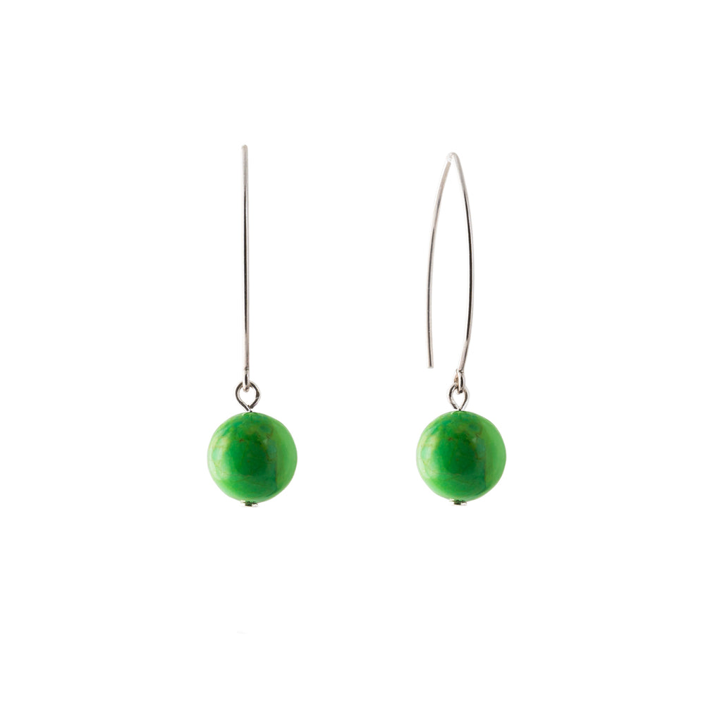 gem drop earrings green gaspeite and silver