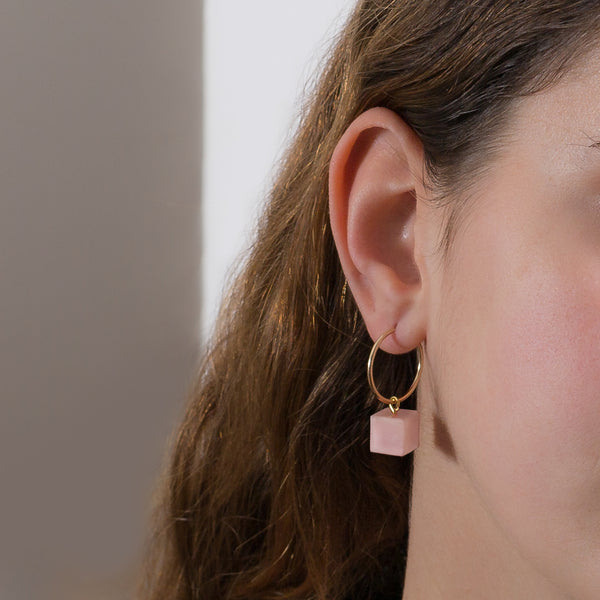 Hoop Earrings - Pink Opal