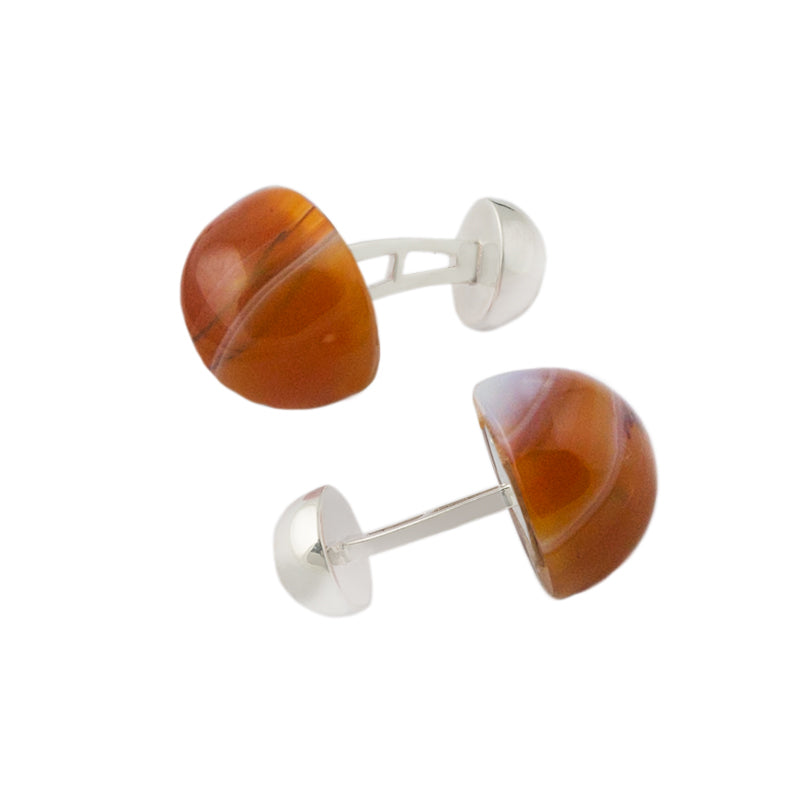 Modern Cufflinks Agate Stone and Silver setting by Alistair R