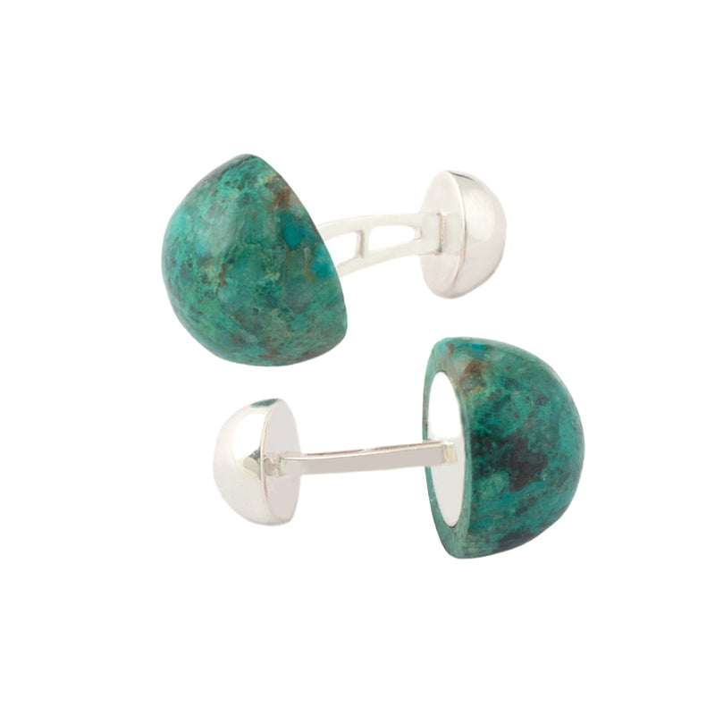 Chrysocolla jewellery - Alistair R cufflinks large chrysocolla cabochon and sterling silver