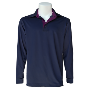 Equi In Style MEN'S Long Sleeve Cold Weather Shirt - Navy with Eggplant - Equestrian Chic Boutique