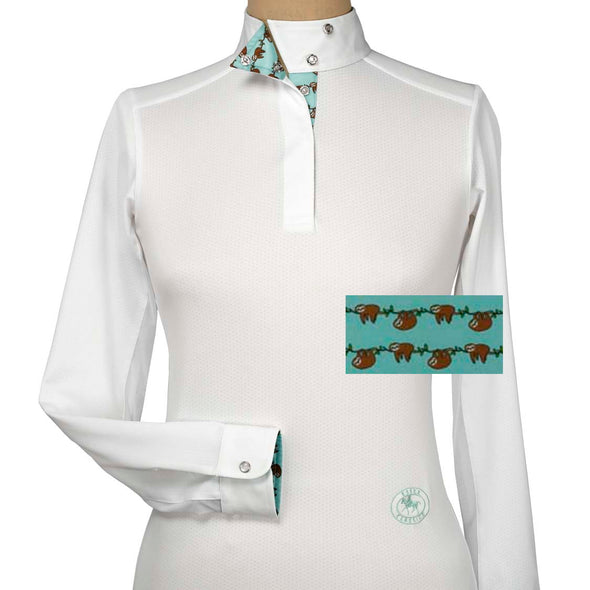 Essex Classics Sloths Ladies Talent Yarn Wrap Collar Show Shirt - Equestrian Chic Boutique