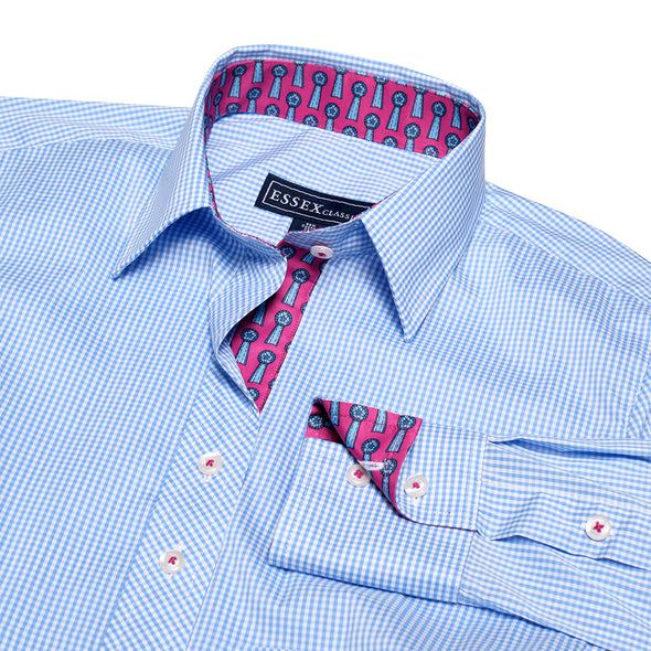 Essex Classics Dora Blue Gingham Check Tailored Shirt
