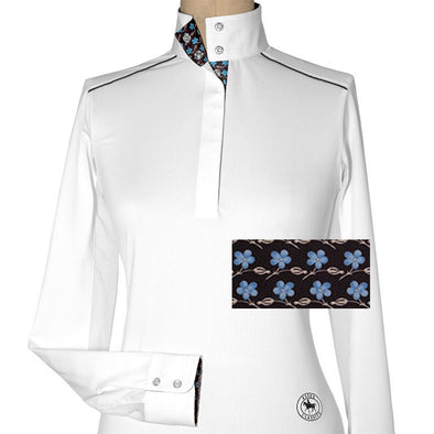 Essex Classics Plumbago Ladies Talent Yarn Straight Collar Show Shirt - Equestrian Chic Boutique