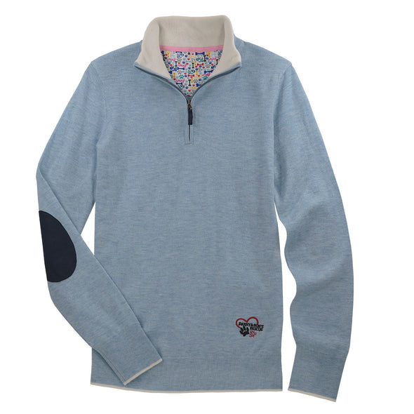 Essex Classics Trey Quarter Zip Sweater - Danny & Rons Light Blue - Equestrian Chic Boutique