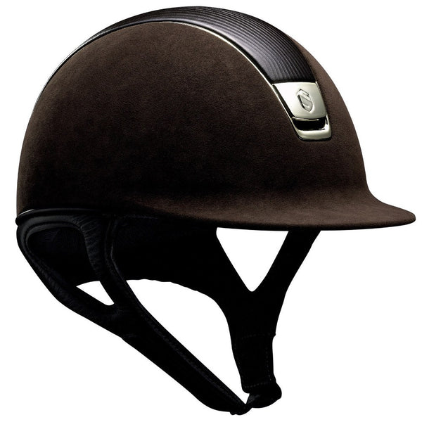 Samshield PREMIUM Helmet LEATHER TOP - Brown Top Leather Chrome Gold - Equestrian Chic Boutique