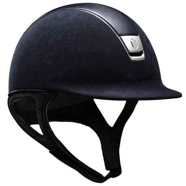 Samshield PREMIUM Helmet LEATHER TOP - Navy Blue Top Leather Chrome - Equestrian Chic Boutique