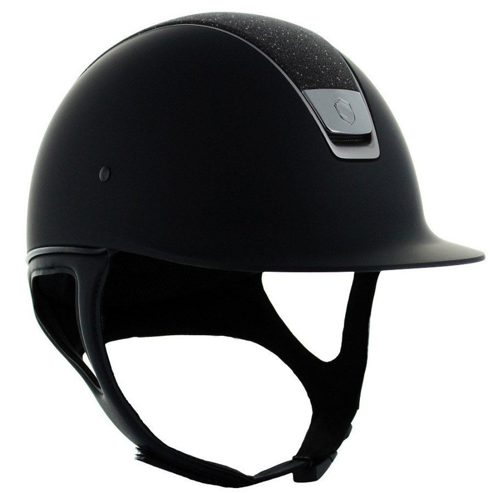 Samshield Shadow Matt CRYSTAL FABRIC SWAROVSKI Helmet - Black - Equestrian Chic Boutique