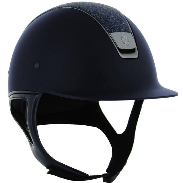 Samshield Shadow Matt CRYSTAL FABRIC SWAROVSKI Helmet - Navy - Equestrian Chic Boutique