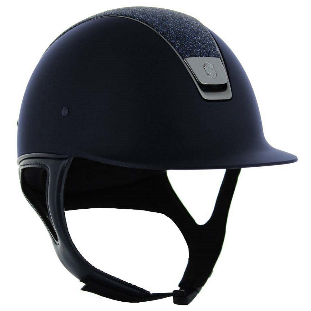Samshield CUSTOM SHADOW MATT Helmet - Navy with Crystal Fabric - Equestrian Chic Boutique - 2