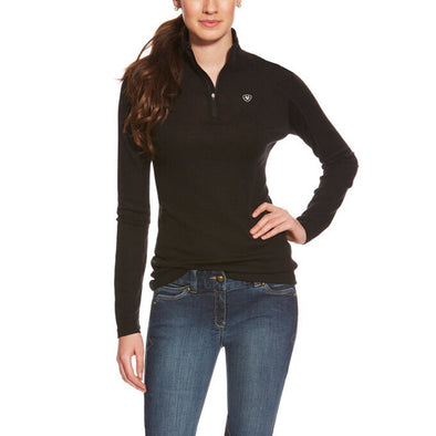 Ariat Cadence Wool 1/4 Zip Baselayer - Black - Equestrian Chic Boutique
