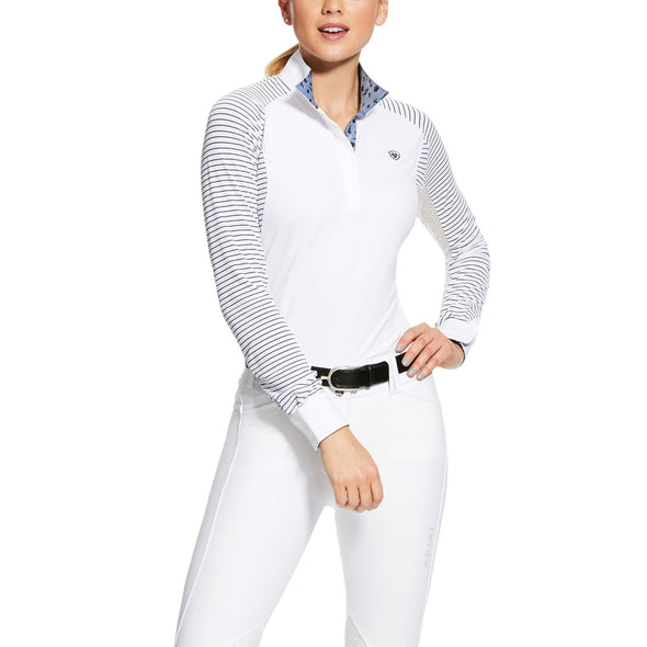 Ariat Marquis Show Shirt - White Navy Mesh - Equestrian Chic Boutique