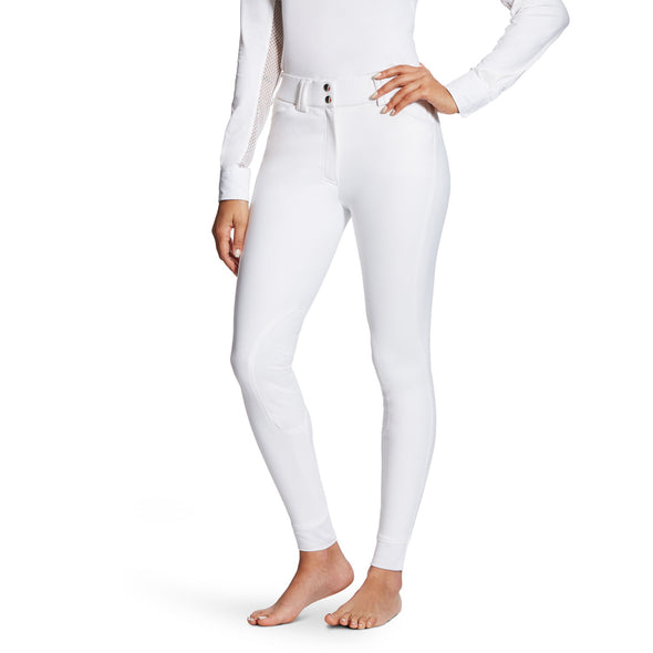 Ariat Tri Factor Grip Knee Patch Breech - White - Equestrian Chic Boutique